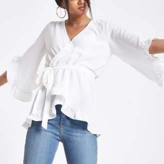 River Island Cream wrap tie waist frill blouse