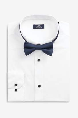 Mens White Regular Fit Single Cuff Wing Collar Shirt And Navy Bow Tie Set