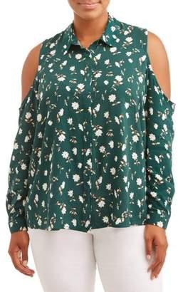 Toxik3 Women's Plus Size Printed Button Up Cold Shoulder Shirt