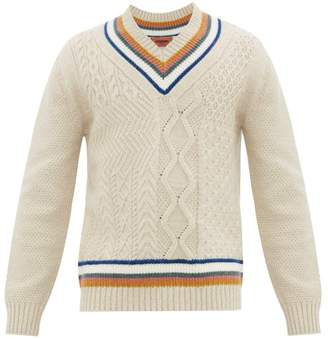 Missoni Striped Cable Knit V Neck Sweater - Mens - Cream