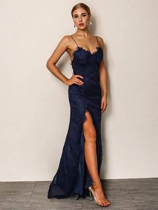 Shein Joyfunear High Split Backless Bodice Lace Overlay Dress