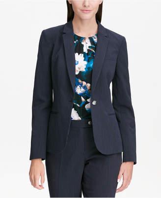 Calvin Klein Pinstripe One-Button Blazer