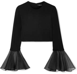 Cushnie - Cropped Silk-organza Trimmed Jersey Top - Black