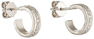 Malcolm Betts Women's White Diamond & Hammered Platinum Half-Hoop Earrings