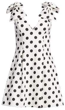 Zimmermann Corsage Polka Dot Bow Shoulder Dress