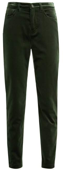 High Rise Velvet Jeans – Womens – Dark Green