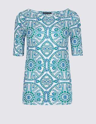 Marks and Spencer Pure Cotton Tile Print Half Sleeve T-Shirt