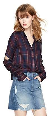 Serene Bohemian Women's Long-Sleeve Elbow Slit Check Shirt