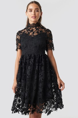 Na Kd Boho High Neck Short Sleeve Lace Dress Black