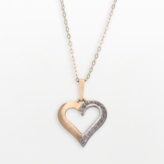 Diamond Fascination 14k Gold Open-Heart Pendant