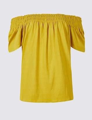 Marks and Spencer Cotton Rich Short Sleeve Bardot Top
