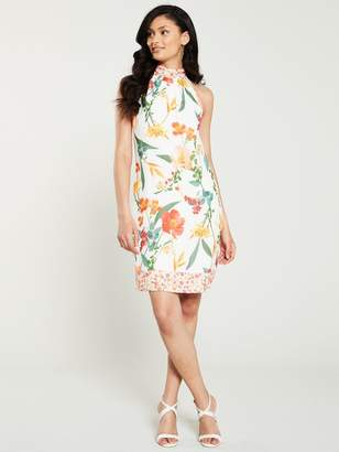 Wallis Botanical Halter Dress - Ivory
