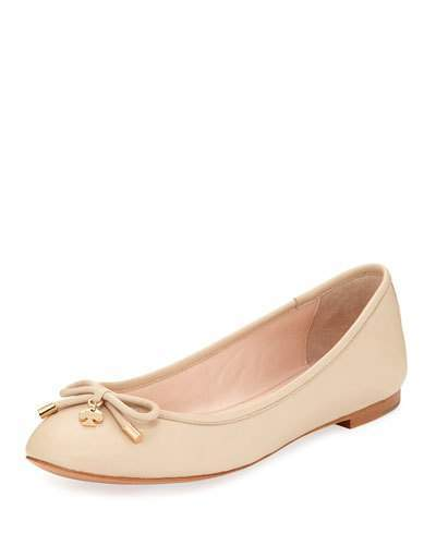 Kate Spade New York Willa Classic Leather Ballerina Flat, Powder