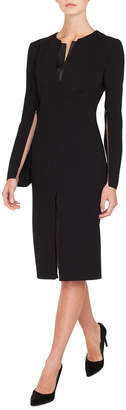 Akris Zip-Sleeve Slit-Front A-Line Wool Dress w/ Leather Inset