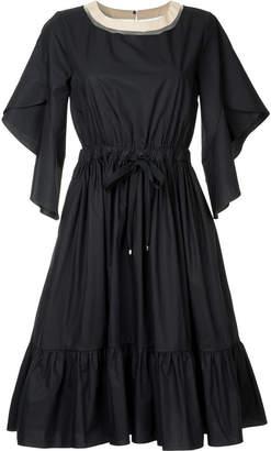 Fendi flared frill-trim dress