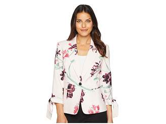 Nine West One-Button Notch Collar Floral Printed Jacket Women's Coat