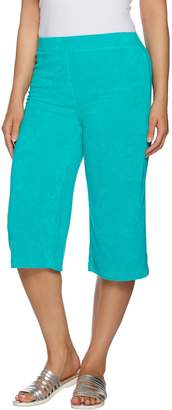 Factory Quacker Terry Cloth Pull-On Capri Pants with Grommet Detail