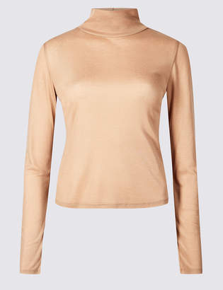 Marks and Spencer Funnel Neck Long Sleeve Cropped T-Shirt