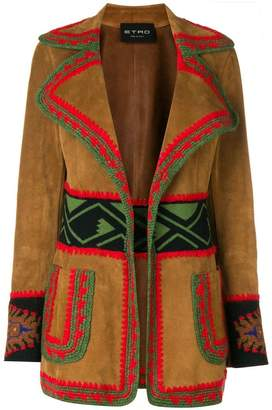 Etro embroidered leather jacket