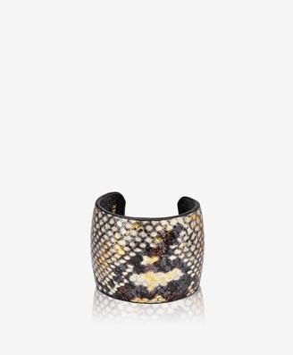 GiGi New York Amelia Leather Cuff, Gold Wash Embossed Python
