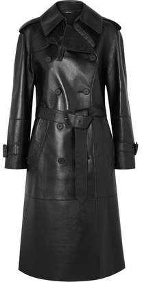 Maison Margiela Leather Trench Coat - Black