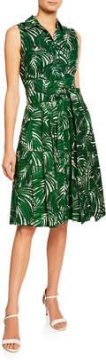 Samantha Sung Claire Maui Palm-Print Collared Sleeveless Shirtdress