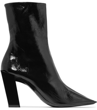 Balenciaga - Glossed-leather Ankle Boots - Black $1,015 thestylecure.com