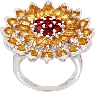 Sunflower Gemstone Statement Ring, Sterling Silver