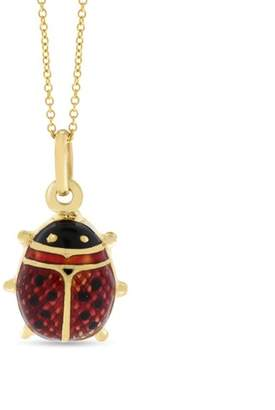 18k Yellow Gold Gorgeous Red Enamel Designed 3D Lady Bug Pendant w/chain