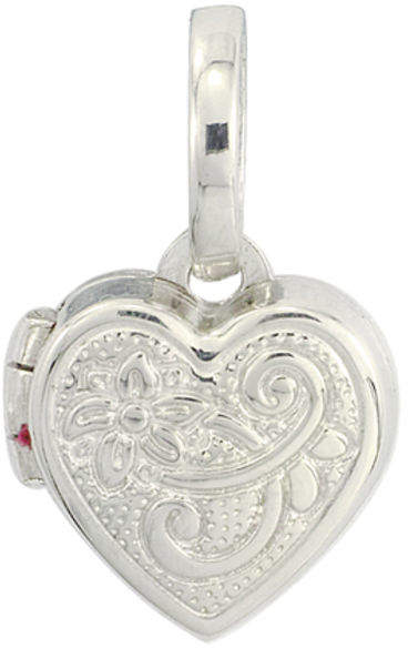 Zales Personality Charms Small Scroll Heart-Shaped Locket Charm in Sterling Silver
