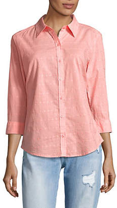 Karen Scott Petite Eyelet Cotton Button-Down Shirt