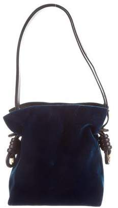 Loewe Flamenco Knot Leather Trim Velvet Bag