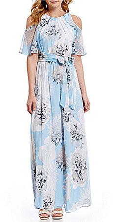 Calvin KleinCalvin Klein Spaced Floral Printed Chiffon Cold-Shoulder Flutter Sleeve Maxi Dress