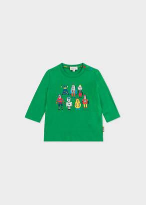 Paul Smith Baby Boys' Green 'Robots' Print T-Shirt