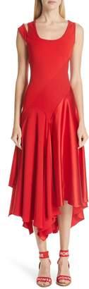 Monse Asymmetrical Mixed Media Midi Dress