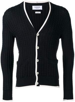 Thom Browne Tipping Stripe V-Neck Cardigan