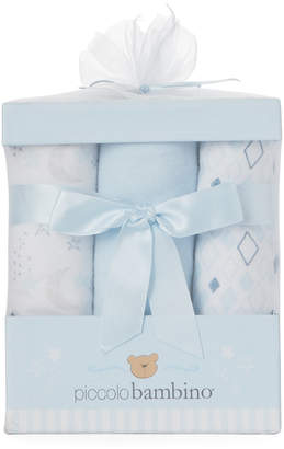 Baby Essentials Piccolo Bambino 6-Pack Blue Flannel Receiving Blanket Gift Set