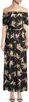1 STATE 1.State Off-The-Shoulder Birds of Paradise Maxi Jersey Dress