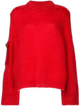 Mother of Pearl embellished contrast patch sweater