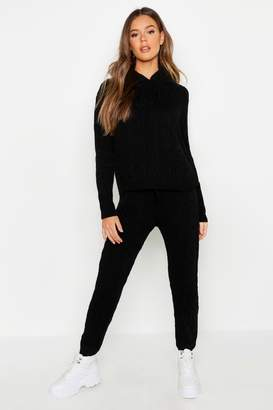 boohoo Cable Knit Hooded Loungewear Set