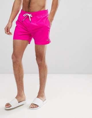 Tommy Hilfiger Short Drawstring Flag Logo Swim Shorts in Bright Pink