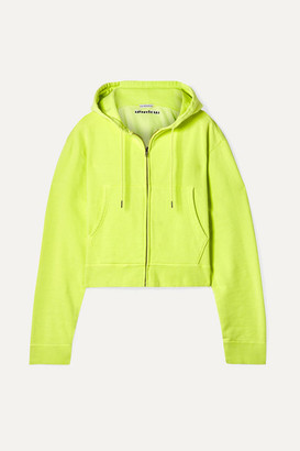 Les Rêveries - Cropped Embroidered Cotton-jersey Hoodie - Chartreuse