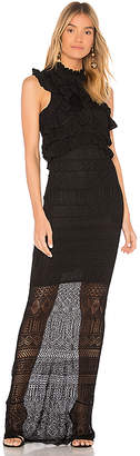 Ronny Kobo Bethanny Ruffle Pointelle Knit Dress