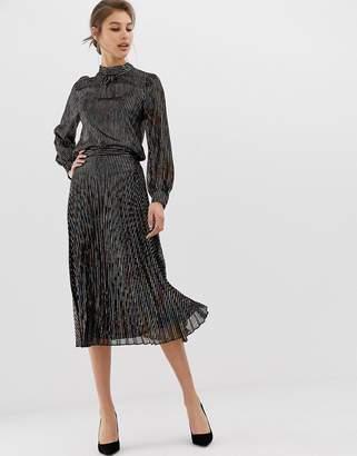 Warehouse pleated midi skirt in metallic rainbow