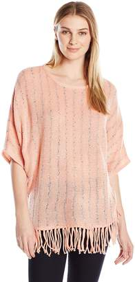 NY Collection Women's Elbow Sleeve Crew Neck Fringed Stripe Poncho Pullover
