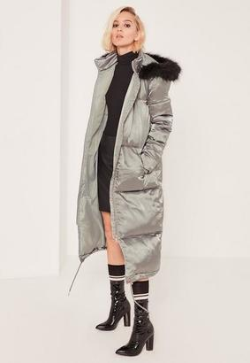 Petite Green Satin Longline Puffa Coat $117 thestylecure.com