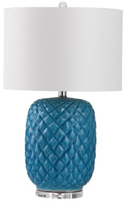 Safavieh Chaney Table Lamp with CFL Bulb, Blue with Off-White Shade