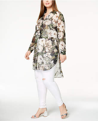 INC International Concepts I.n.c. Plus Size Sheer High-Low Tunic, Created for Macy's