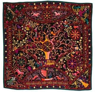 Hermes Peuple Du Vent Cashmere Silk Shawl