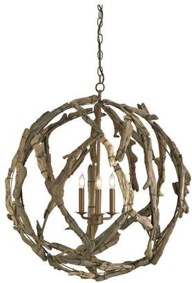 Currey and Company Driftwood Orb Chandelier